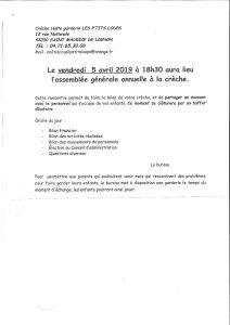 Assemblée générale Crèche Les P'TITS LOUPS