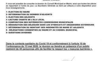 Ordre du jour - Conseil municipal du 26 mai 2020