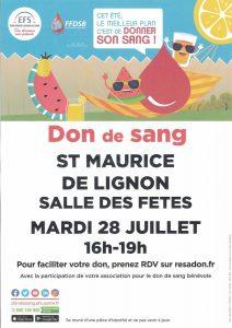 Don du Sang 28 juillet 2020