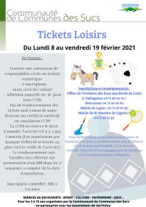 Tickets loisirs hiver 2021
