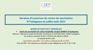 HORAIRES D'OUVERTURE DU CENTRE DE VACCINATION d'YSSINGEAUX
